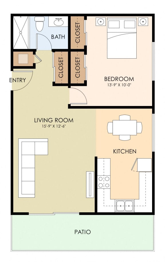 One Bed One Bath Floor Plan at Magnolia Place, Sunnyvale, CA, 94087