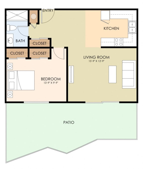 1 Bedroom 1 Bathroom Floor Plan at Magnolia Place, Sunnyvale, CA