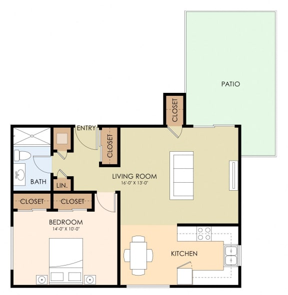 1 Bedroom 1 Bath Floor Plan at Magnolia Place, Sunnyvale, 94087