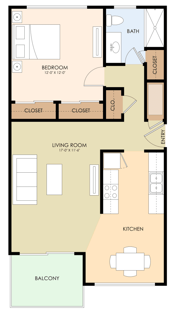 One Bed One Bath Floor Plan at Californian, California