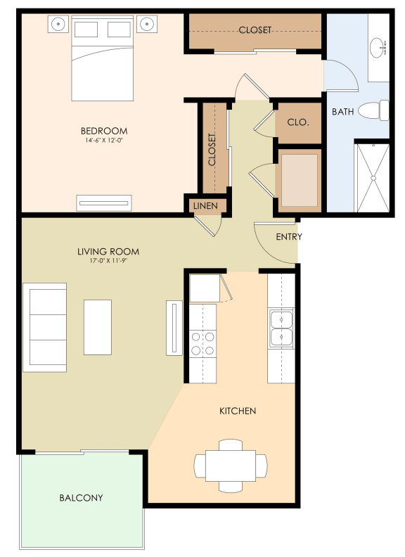 One Bedroom One Bath Floor Plan at Californian, Mountain View