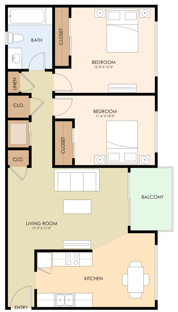 Two Bedroom One Bath Floor Plan at Californian, California, 94040