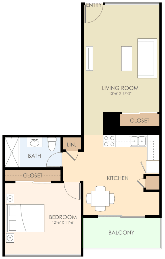 One Bed One Bath Floor Plan at Courtyard, Redwood City, 94063