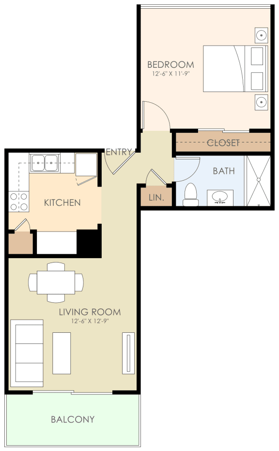 1 Bedroom 1 Bathroom Floor Plan at Courtyard, Redwood City, California