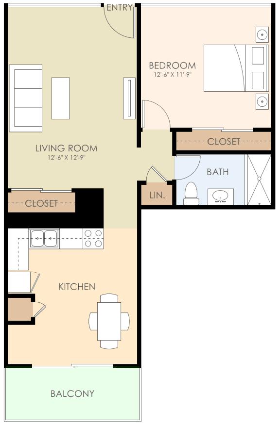 1 Bedroom 1 Bath Floor Plan at Courtyard, Redwood City