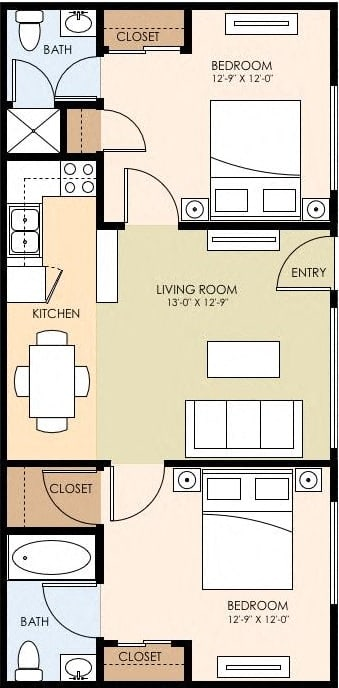 Floor Plan  Two Bedroom Two Bath Floor Plan at The Arbors at Mountain View, Mountain View, CA