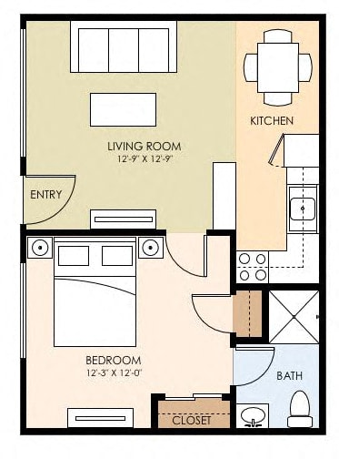 Floor Plan  One Bedroom One Bath Floor Plan at The Arbors at Mountain View, Mountain View, 94040