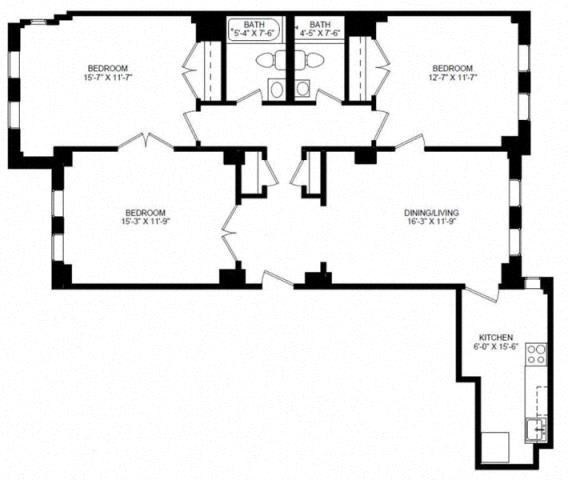 Westminster 3 Bedroom 1 Bath Floorplan at Barclay, Washington, 20009
