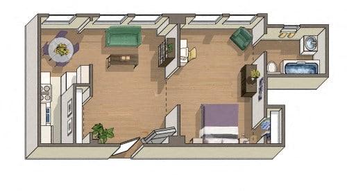 Cambridge 1 Bedroom 1 Bath Floorplan at Barclay, Washington, DC