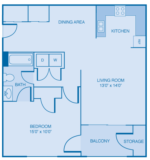 1 Bed 1 Bath Floor Plan at Brooklyn Place Apartments, Evansville, IN, 47715