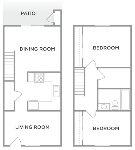 The Maple 2 Bed 1.5 Bath Floor Plan at Kingston Square Apartments, Indianapolis, IN, 46226