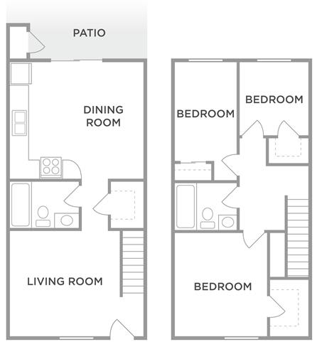 The Oak 3 Bed 1.5 Bath Floor Plan at Kingston Square Apartments, Indianapolis, IN