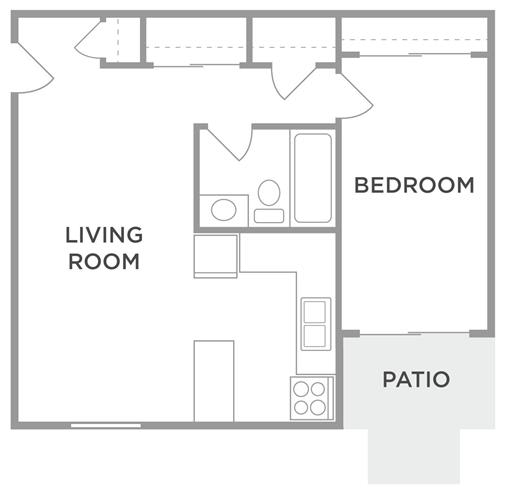 The Birch One Bed One Bath Floor Plan at Kingston Square Apartments, Indianapolis, 46226