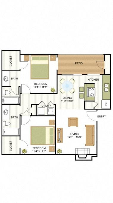 B2 2 Bedroom 2 Bath Floorplan at Sunset Canyon, Texas