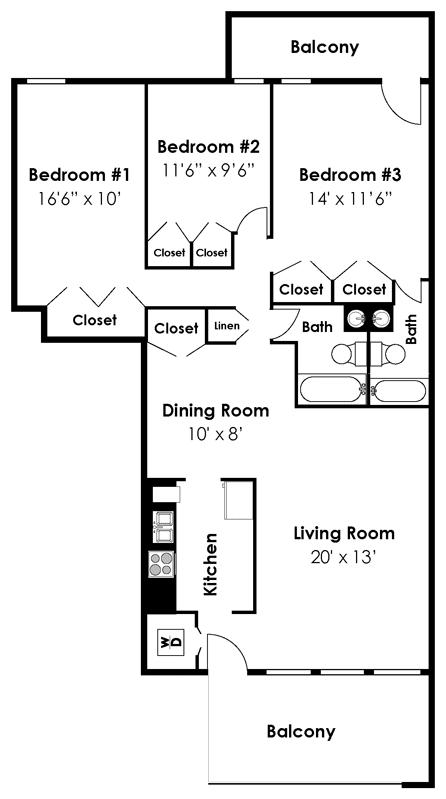 Floor Plan  Brook View Apartments Mount Washington 3 Bedroom 1 Bath 1114 sf