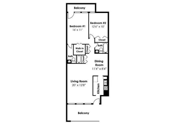 2D floorplan for 2 bed 2 bath 978sf, at Brook View Apartments, 21209, MD