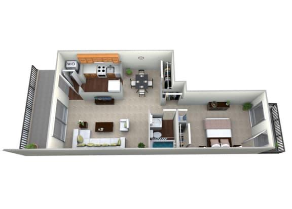 Floor Plan  3D Floorplan for 1 bed 1 bath 759sf, at Brook View Apartments, 5921 Western Run Drive , Baltimore