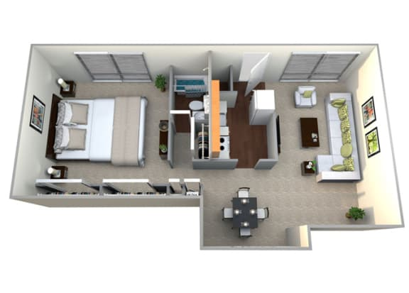 Floor Plan  Floorplan for 1 bed 1 bath 880sf, at Brook View Apartments, Baltimore, MD