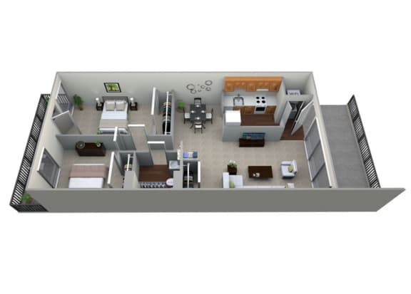 Floor Plan  3D floorplan for 2 bed 1 bath 903sf, at Brook View Apartments, Baltimore, Maryland