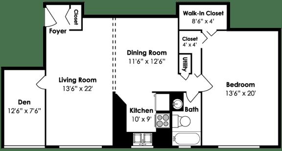 Cardiff Hall Apartments 1 Bedroom 1 Bath Den 1200 sf