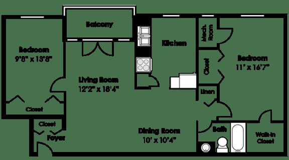 Floor Plan  Floorplan at Courthouse Square Apartments, 1112 Ivywood Lane, Towson, MD 21286