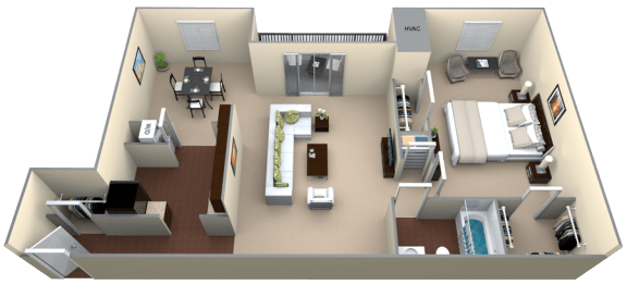 Floor Plan  Courthouse Square 1 Bedroom 1 Bath 882 sf renovated