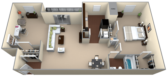 Floor Plan  Courthouse Square 1 Bedroom 1 Bath Den 1056sf renovated