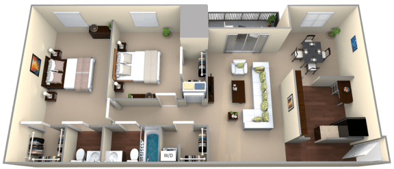 Floor Plan  Courthouse Square 2 Bedroom 1.5 Bath Renovated 1188sf