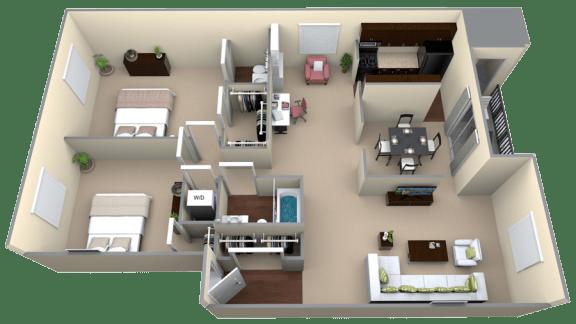 Floor Plan  Courthouse Square 2 Bedroom 1.5 Bath Bonus 1204sf Renovated