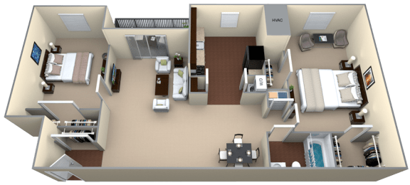 Floor Plan  Courthouse Square 2 Bedroom 1 Bath 1056sf renovated