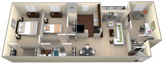 Floor Plan  Courthouse Square 2 Bedroom 1 Bath Den Renovated 1320sf
