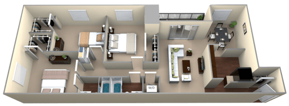 Floor Plan  Courthouse Square 3 Bedroom 2 Bath Renovated 1320sf