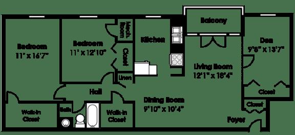 Floor Plan  Floorplan at Courthouse Square Apartments, 1112 Ivywood Lane, Towson, MD