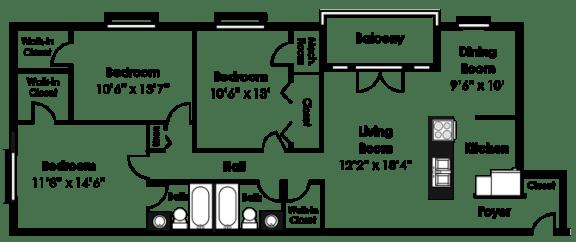 Floor Plan  Floorplan at Courthouse Square Apartments, 1112 Ivywood Lane, MD