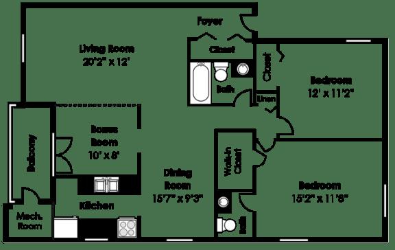 Floor Plan  Floorplan at Courthouse Square Apartments, 1112 Ivywood Lane, Towson, 21286
