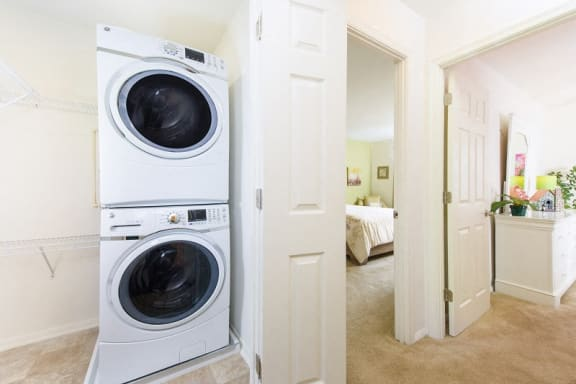 Stacking washer and dryer at Kenilworth at Perring Park Apartments, 8951 Waltham Woods Road