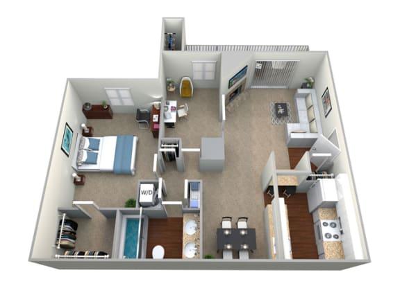 Floor Plan  3D floorplan for 1 bed 1 bath 914sf, at McDonogh Township Apartments, 6 D Homestead Drive, Owings Mills