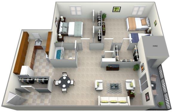 Floor Plan  3D floorplan for 2 bed 1 bath 900sf, at 101 North Ripley Apartments, Alexandria, Virginia