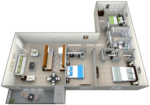 Floor Plan  3D Floorplan for 3 bed 2 bath 1000sf, at 101 North Ripley Apartments, Virginia, 22304