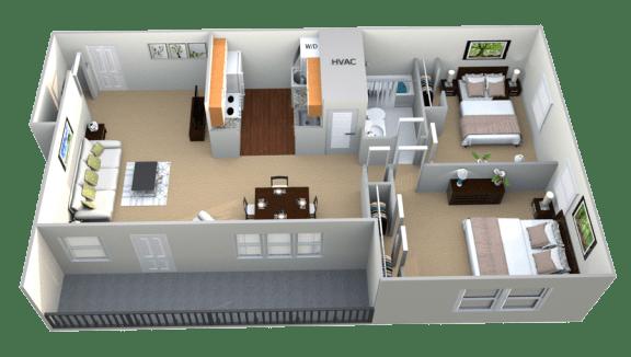 Floor Plan  2 Bedroom 1 Bath II Floorplan