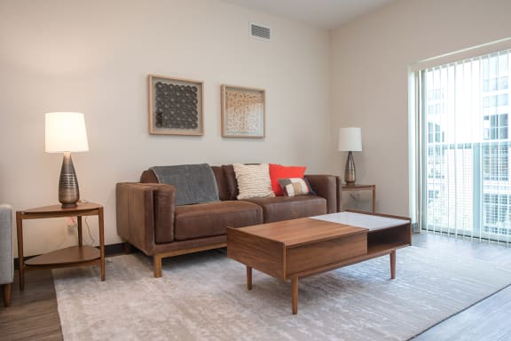 Naturally Lit Living Room at Hot Metal Flats apartments, Southside Pittsburgh