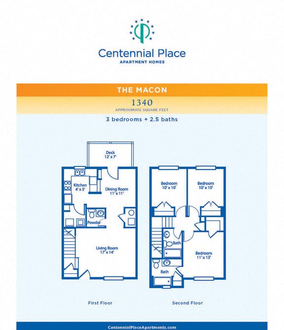 Macon floor plan at Centennial Place in Atlanta, Georgia