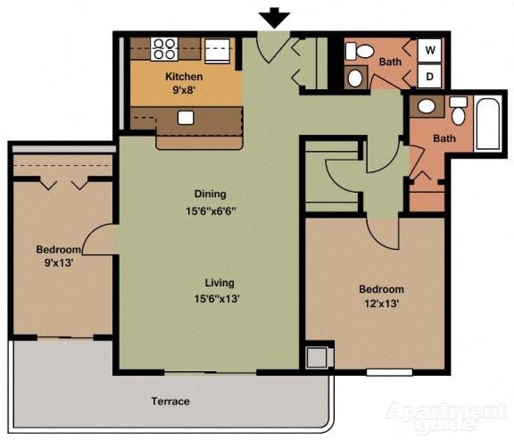 Two Bedroom Apartments, VA