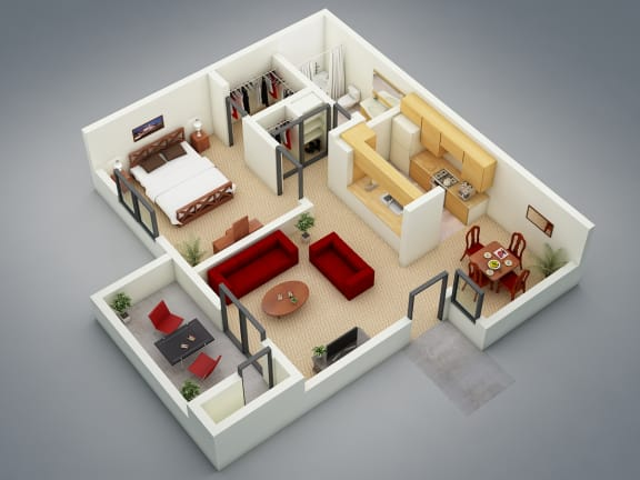 The Refuge Floor Plan at Mission Sierra Apartments, Union City, CA, 94587
