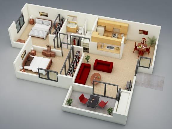 Floor Plan  The Retreat Floor Plan at Mission Sierra Apartments, Union City, 94587