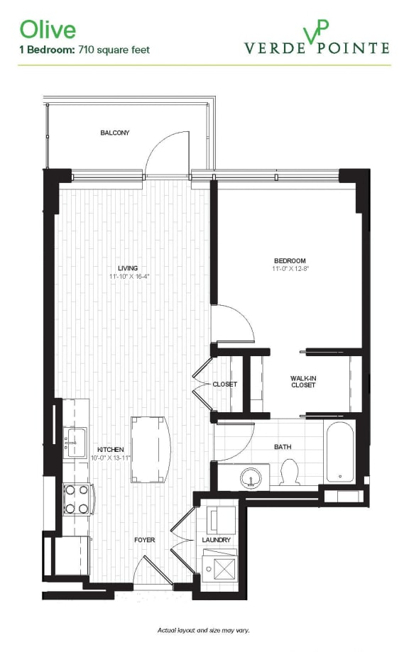 Verde Pointe Arlington VA Olive 710 SF Floor Plan