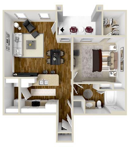 One Bedroom, One Bathroom Floor Plan