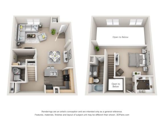 Floor Plan  1 Bedroom Townhome