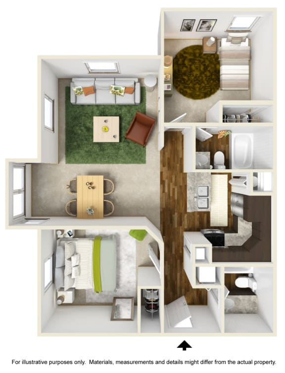 Floor Plan  Cascade Falls Floor Plan at The Falls Apartments in Raleigh NC