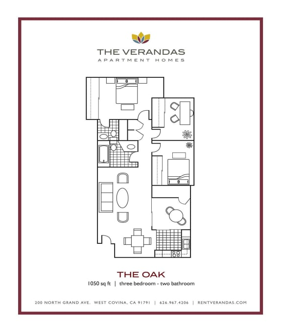 3 Bed 2 Bath Floor plan at The Verandas Apartment Homes, West Covina, 91791